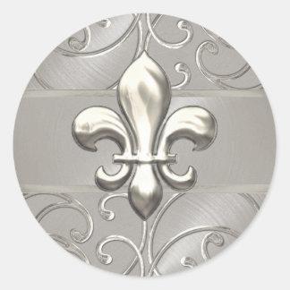 Silver Filigree Swirls Fleur de Lis Classic Round Sticker