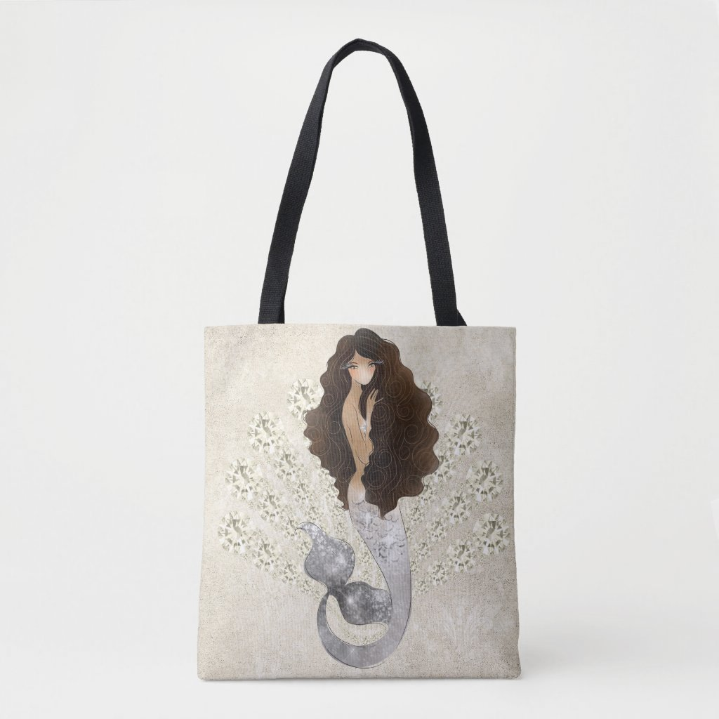 SIlver Fin Brunette Mermaid Tote Bag