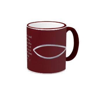 Silver Fish and scripture cover this mug... Ringer Mug
