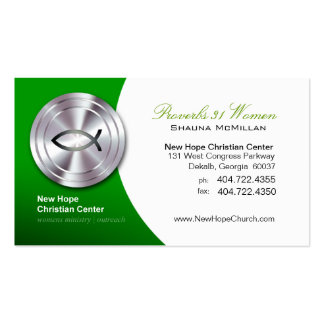 Silver Fish IXOYE Christian Symbol Minister/Pastor Business Cards