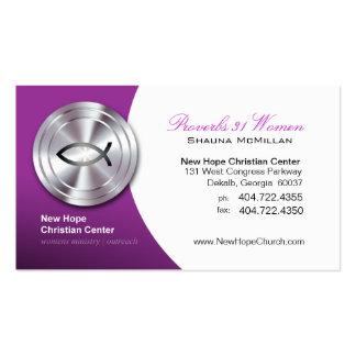 Silver Fish IXOYE Christian Symbol Minister/Pastor Business Card