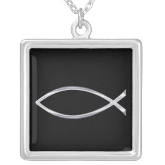 Silver Fish on Black Background Square Pendant Necklace
