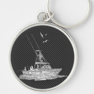 Silver Fishing Boat on Carbon Fiber Keychain
