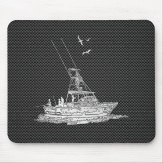 Silver Fishing Boat on Carbon Fiber Mouse Pad