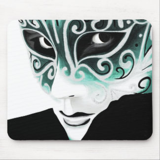 Silver Flair Mask in Green Mousepad