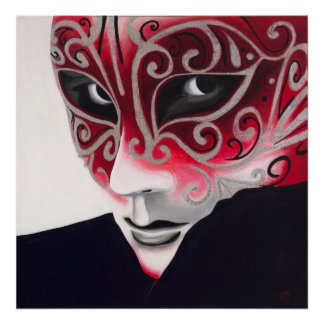 Silver Flair Mask Poster