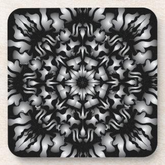 Silver Flame Coasters Set - Black