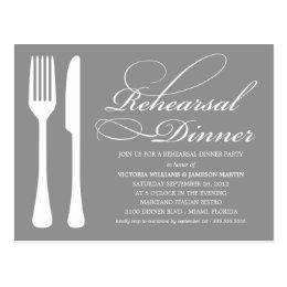 SILVER FLATWARE   REHEARSAL DINNER INVITE POSTCARD