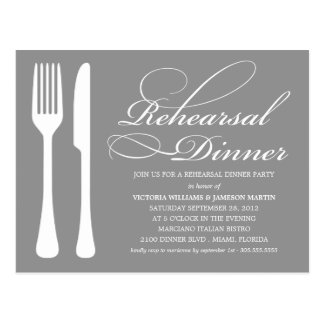 SILVER FLATWARE | REHEARSAL DINNER INVITE POSTCARD