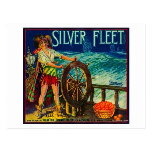 Silver Fleet Orange LabelMentone CA Postcard