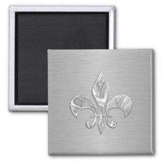 Silver Fleur de Lis 2 Inch Square Magnet