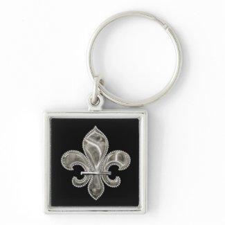 Silver Fleur de Lis Customizable Keychain