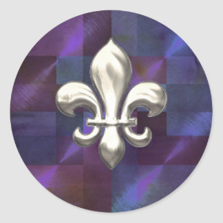 Silver Fleur de Lis on Abstract Purples Round Stickers