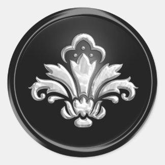 Silver Fleur de Lis on Black  Envelope Seal