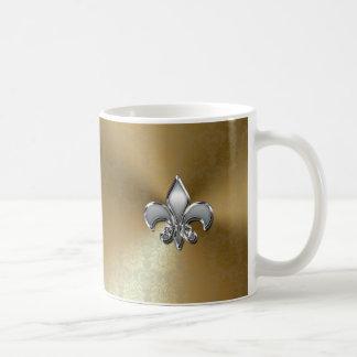 Silver Fleur-De-Lis on Gold Damask Coffee Mug