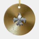 Silver Fleur-De-Lis on Gold Damask Double-Sided Ceramic Round Christmas Ornament