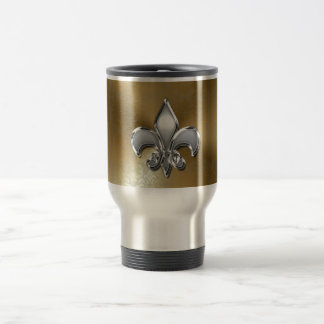 Silver Fleur-De-Lis on Gold Damask Travel Mug