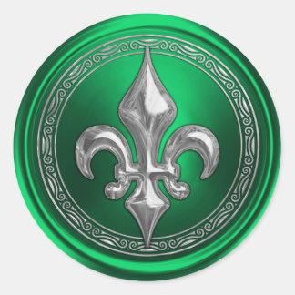 Silver Fleur de Lis on Green Background Classic Round Sticker