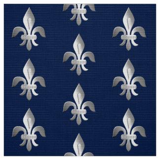 Silver Fleur-de-lis on indigo blue Fabric