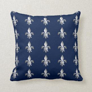 Silver Fleur-de-lis on indigo blue Throw Pillow
