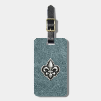 Silver Fleur de Lis on Teal Leather look Luggage Tag