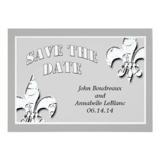 Silver Fleur de Lis Save the Date Cards Personalized Invitation