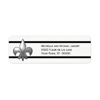 Silver Fleur de Lis with Black Stripes Custom Return Address Label