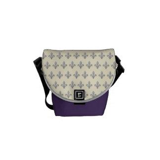 Silver Fleur de lys Cornsilk and Amethyst Mini Courier Bags