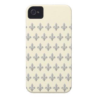 Silver Fleur de lys Cornsilk iPhone 4 Barely There iPhone 4 Case