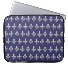 Silver Fleur De Lys Floral Blue Laptop Sleeve 15 at Zazzle