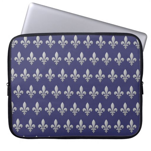 Silver Fleur de lys Floral Blue Laptop Sleeve 15