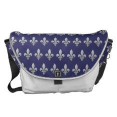 Silver Fleur De Lys Floral Blue Large Messenger Courier Bag at Zazzle