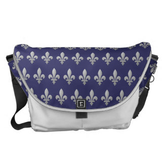 Silver Fleur de lys Floral Blue Large Messenger Courier Bag