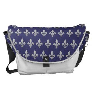 Silver Fleur de lys Floral Blue Large Messenger Commuter Bag
