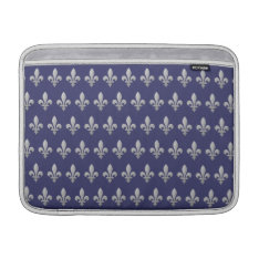 Silver Fleur De Lys Floral Blue Macbook Air 13