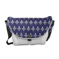 Silver Fleur de lys Floral Blue Medium Messenger Courier Bag at Zazzle