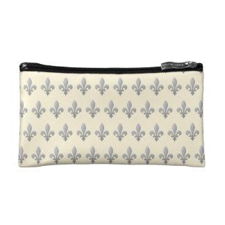 Silver Fleur de lys Floral Cornsilk Cosmetic Bag
