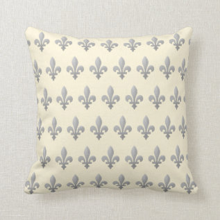 Silver Fleur de lys Floral Cornsilk Pillow (S) at Zazzle
