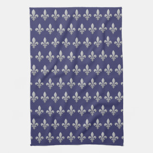 Silver Fleur De Lys Floral Kitchen Towel at Zazzle