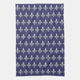Silver Fleur de lys Floral Kitchen Towel