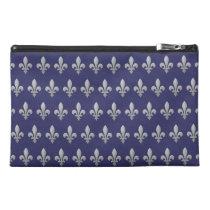 Silver Fleur de lys Floral Pattern Blue Accessory Travel  Accessory Bag at Zazzle