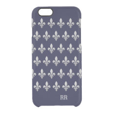 Silver Fleur De Lys Floral Pattern Clear Iphone 6/6s Case at Zazzle