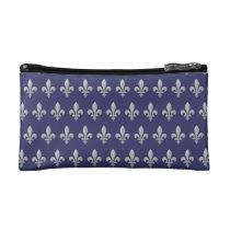 Silver Fleur de lys Floral Pattern Cosmetic Bag at Zazzle