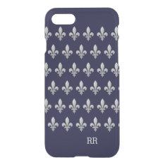 Silver Fleur De Lys Floral Pattern Iphone 8/7 Case at Zazzle