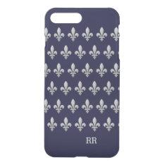 Silver Fleur De Lys Floral Pattern Iphone 8 Plus/7 Plus Case at Zazzle