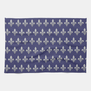 Silver Fleur De Lys Floral Pattern Tea Towel at Zazzle