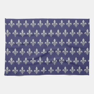Silver Fleur de lys Floral Pattern Tea Towel