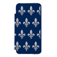 Silver Fleur De Lys Floral Pattern Wallet Case For Iphone Se/5/5s at Zazzle