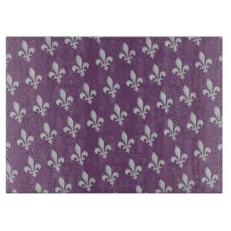 Silver Fleur de lys Floral Regal Purple Cutting Board