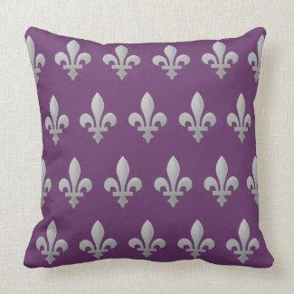 Sliver Fleur de Lys motifs on a Royal purple pillow. You can change the size of the fleur de lis and the background color